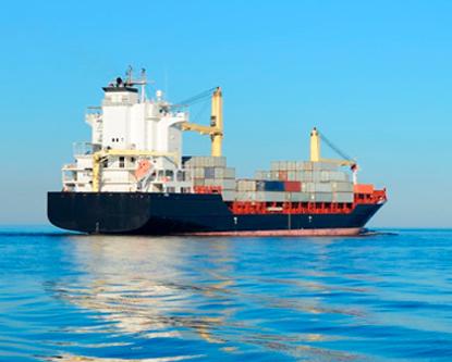 General cargo vessel at open sea
