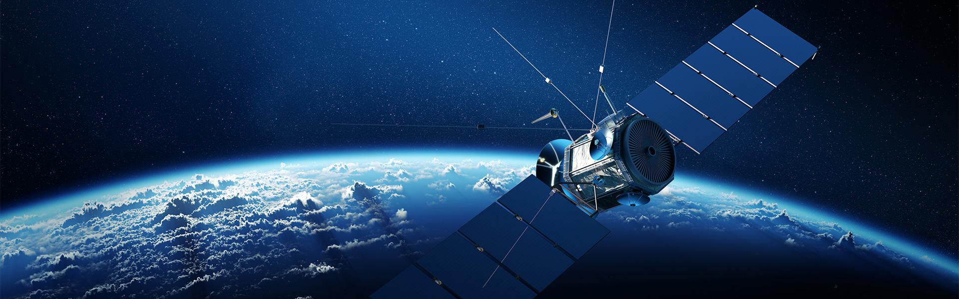 Communications satellite orbiting Earth